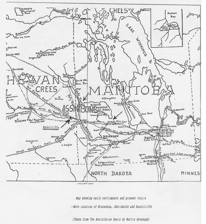 Map of Minnedosa, Shellmouth and Hazelcliffe
