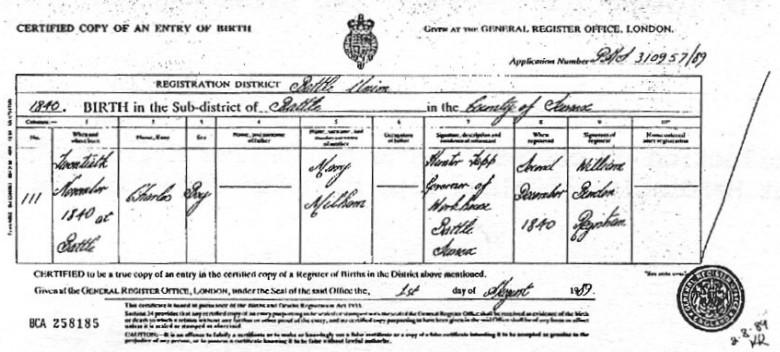 Charles Millham Birth Certificate