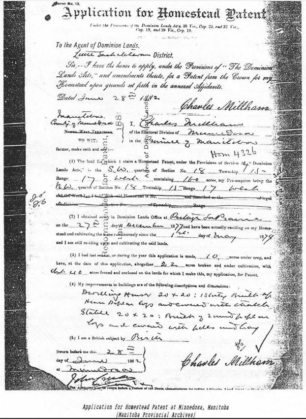 Millham Homestead Patent
