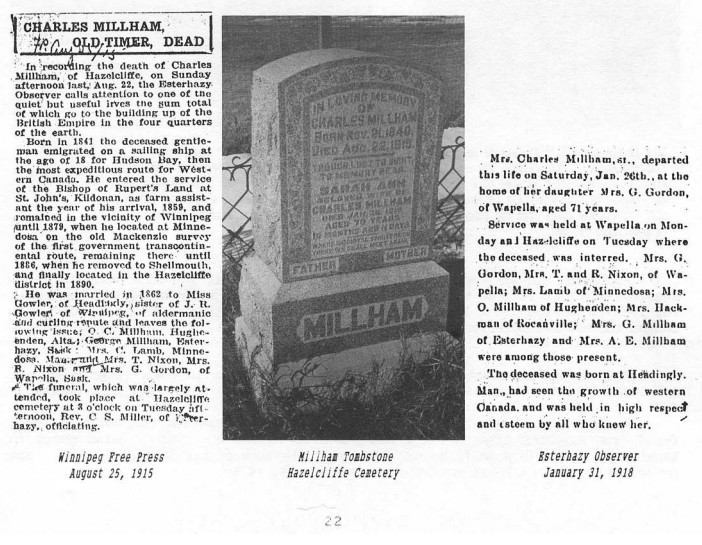 Charles MIllham obituary tombstone
