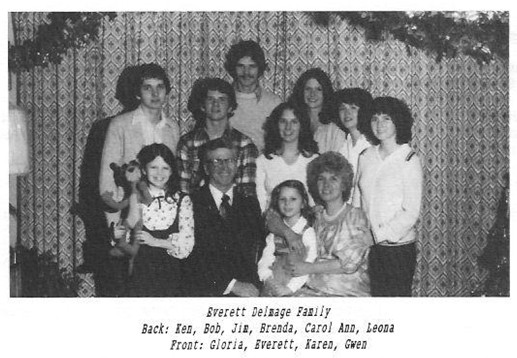 Everett Delmage family Ken Rob Jim Brenda Carol Ann Leona Gloria Karen Gwen