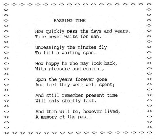 passing time poem millham